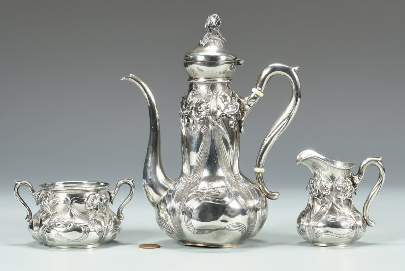Lot 831: Art Nouveau Tea Set, Wm B. Kerr & Co.