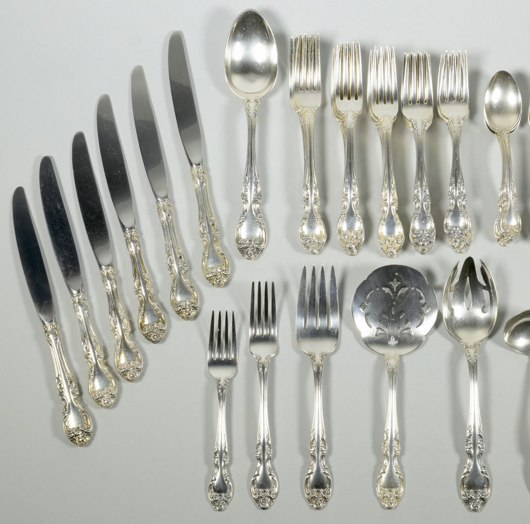 Lot 833: Gorham Melrose sterling flatware, 72 pcs