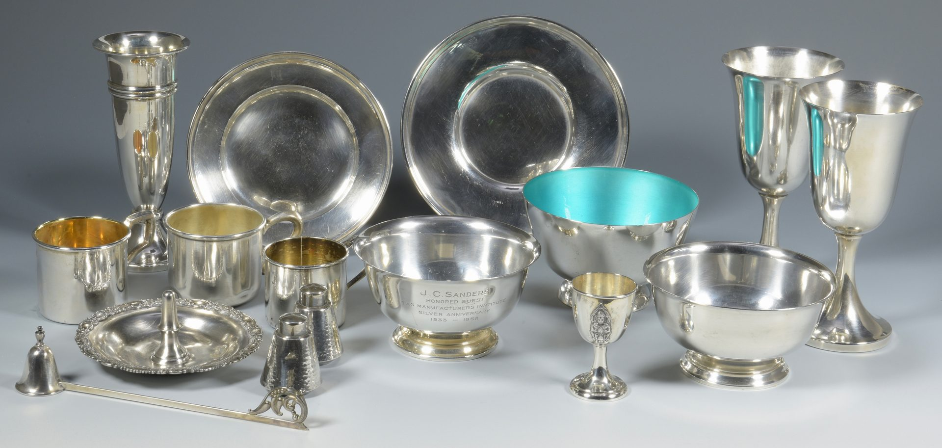 Lot 834: 16 Sterling Table Items, inc. Goblets