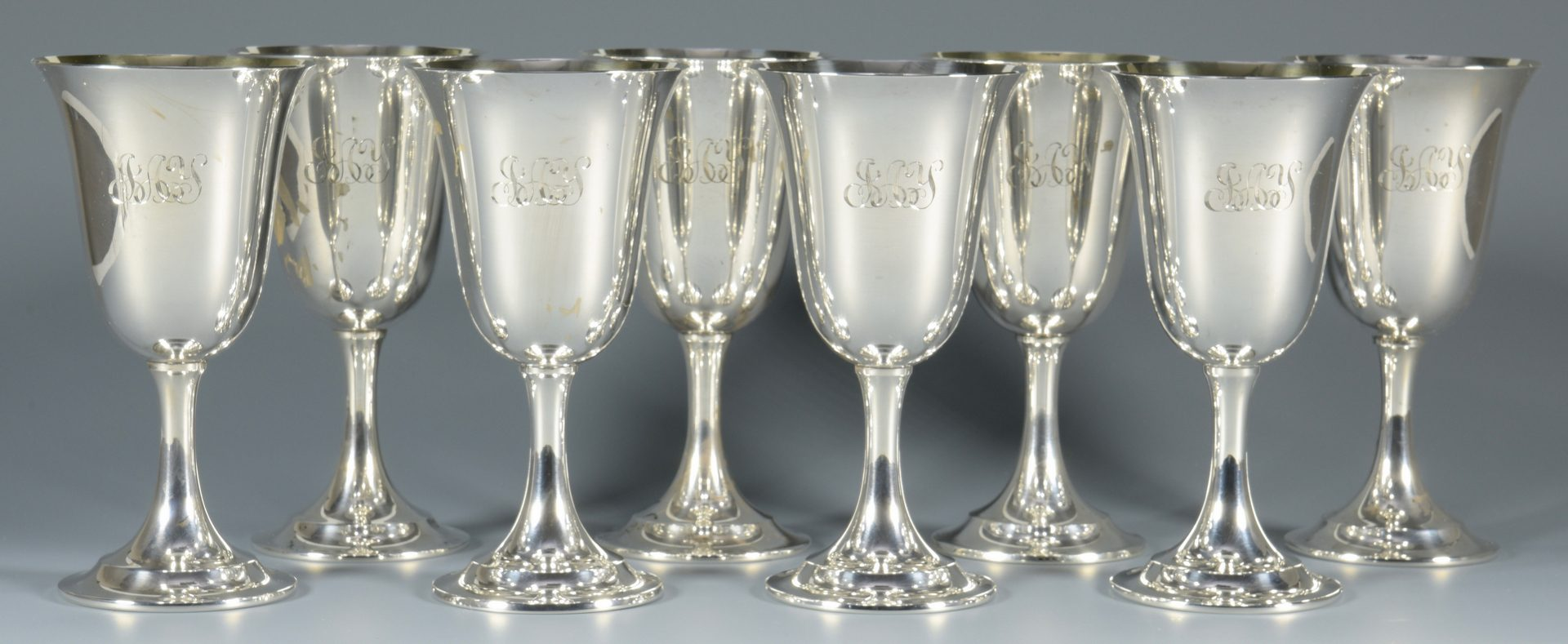 Lot 836: 8 International Sterling Silver Goblets