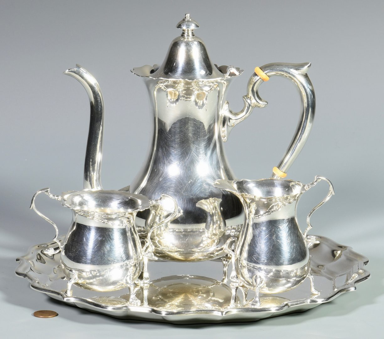 Lot 837: Towle 3 Pc. Sterling Coffee Service w/ Undertray
