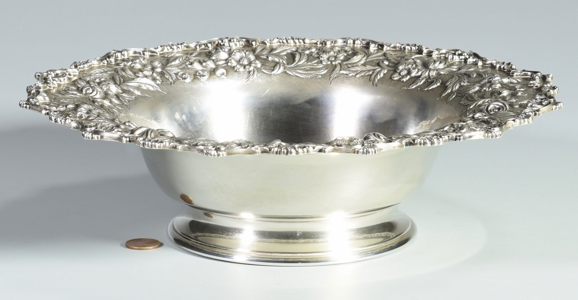 Lot 840: S. Kirk & Son Sterling Repousse Fruit Bowl