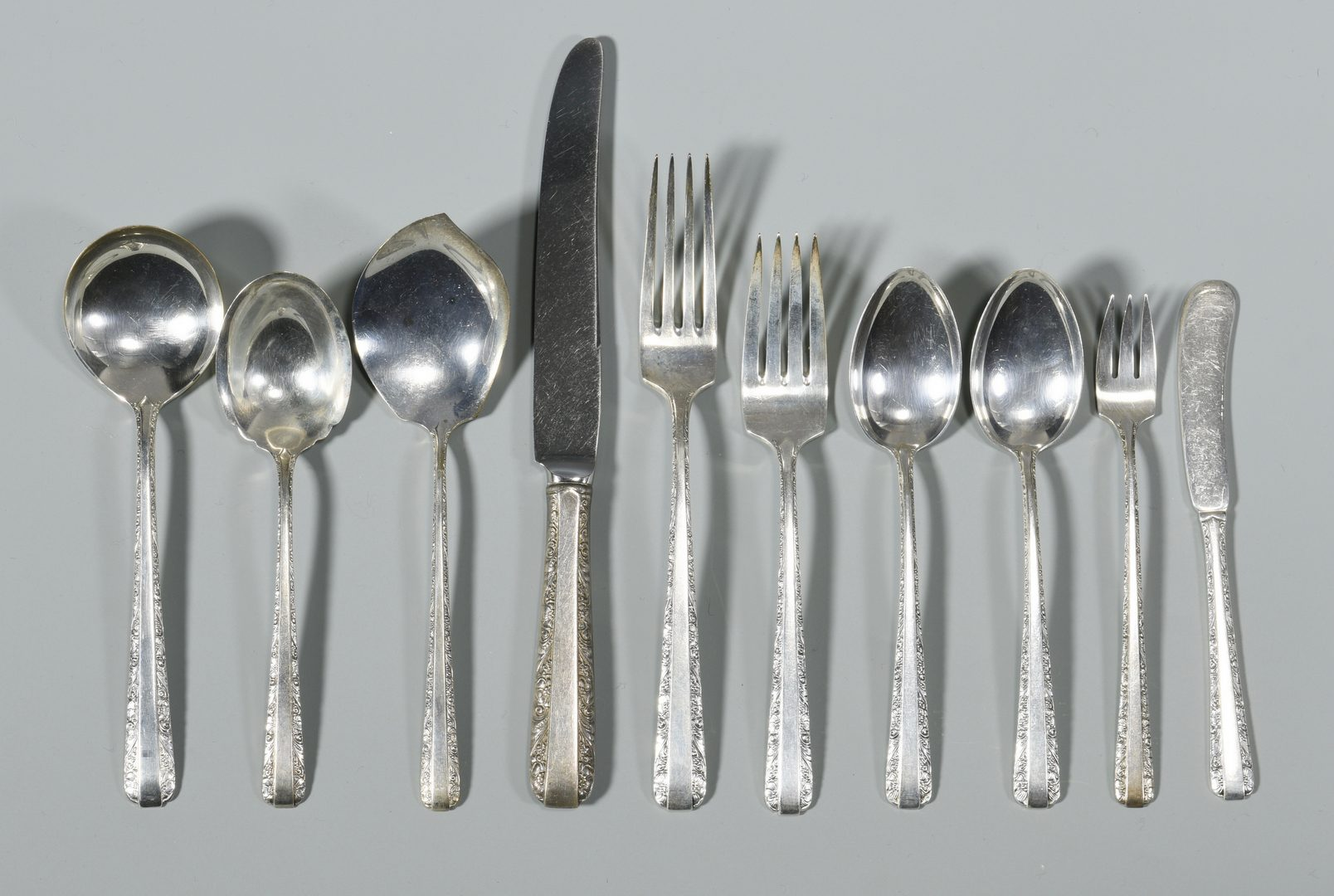 """Lot 845: Towle Sterling Silver """"Candlelight""""  56 pcs"""