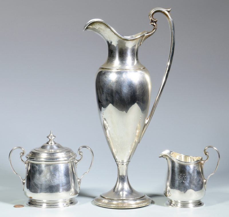 Lot 847: Sterling Ewer and Tiffany Creamer/Sugar
