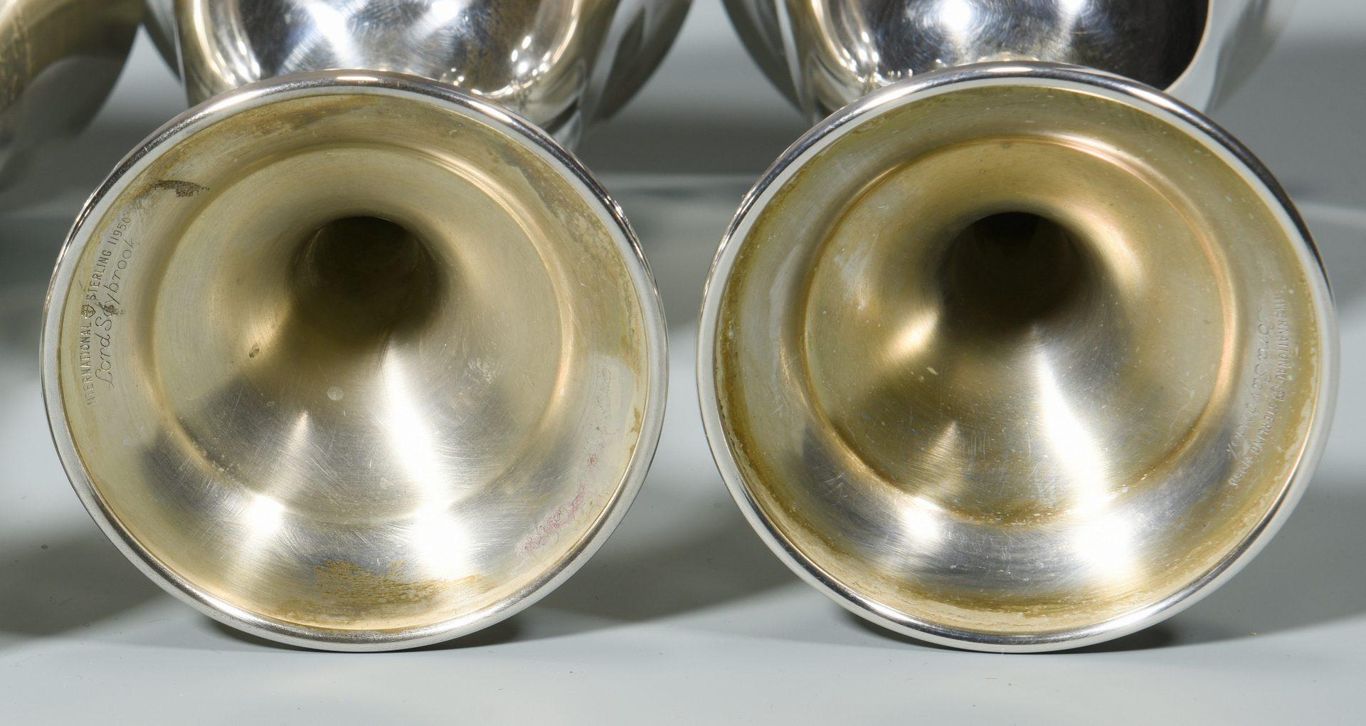 Lot 848: 6 Sterling Goblets, International, Gorham
