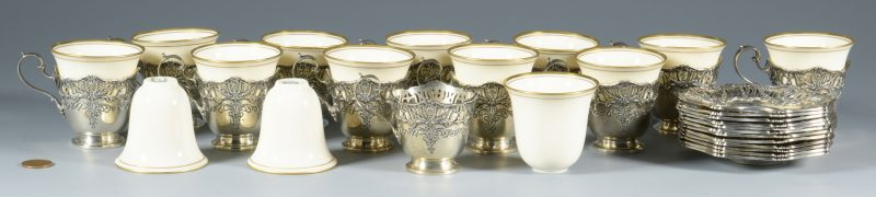 Lot 849: Set Sterling-Porcelain Demitasse Cups and Saucers
