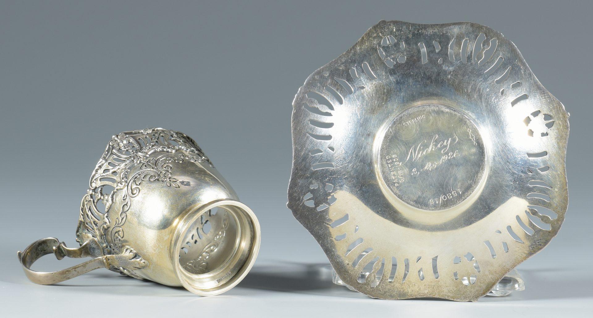 Lot 849: Set Sterling-Porcelain Demitasse Cups and Saucers