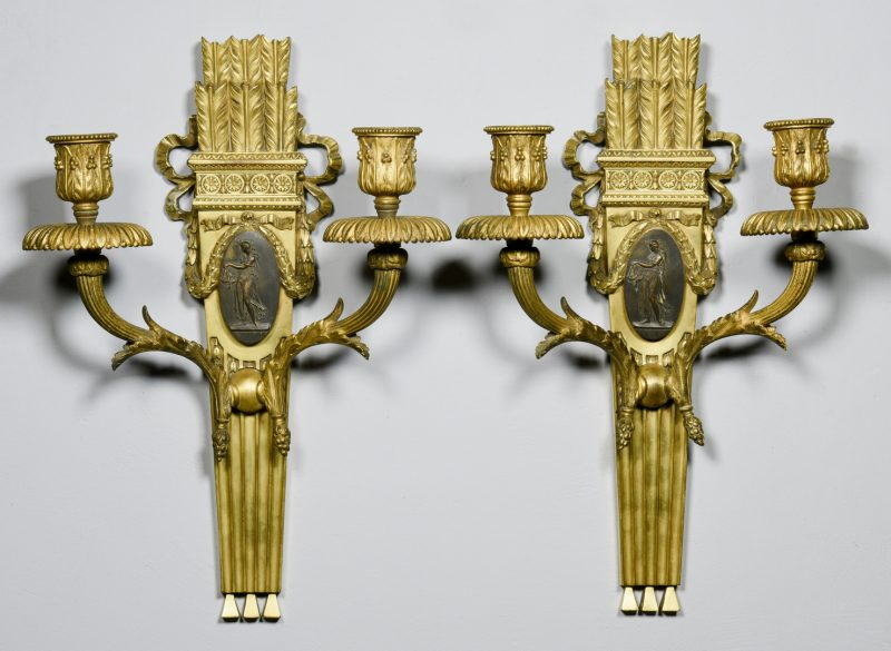Lot 84: Pr. Parcel Gilt Bronze Sconces