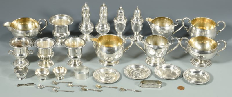 Lot 851: 31 pcs assorted sterling inc. cream, sugar