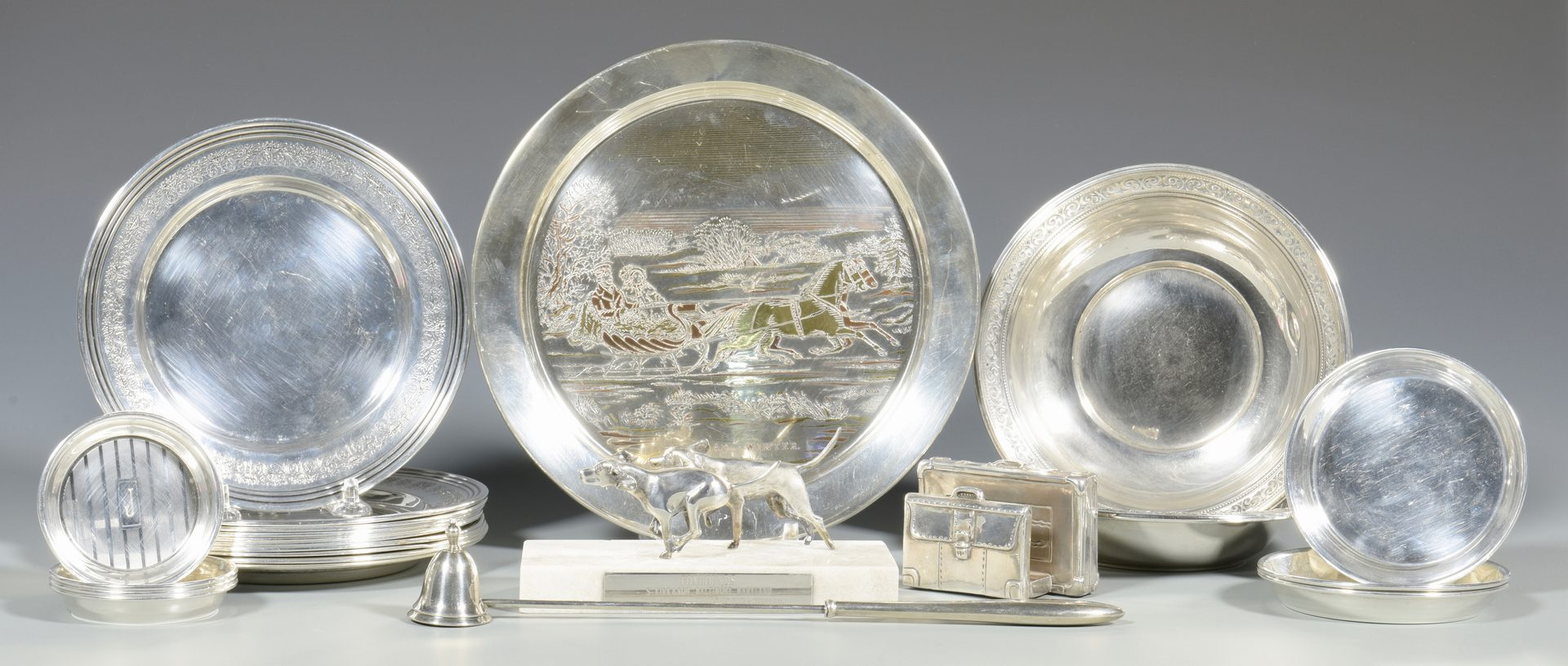 Lot 857: Group of Sterling Plates, etc.  23 items