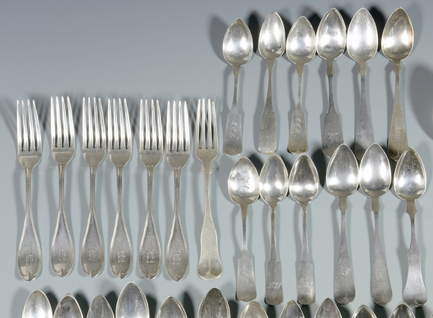 Lot 861: Silver Flatware, Mostly Coin, 59 pcs.