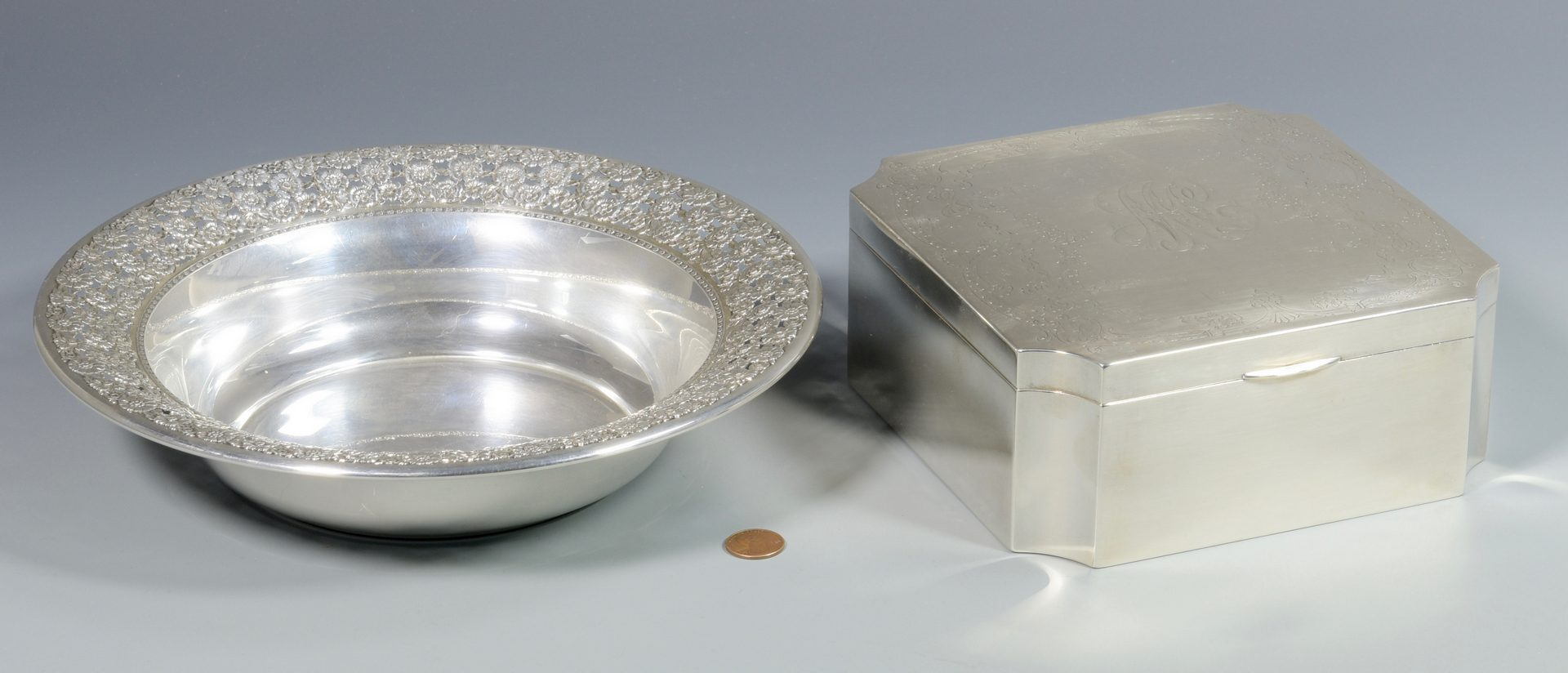 Lot 864: Wallace Sterling Pierced Bowl & Engraved Box