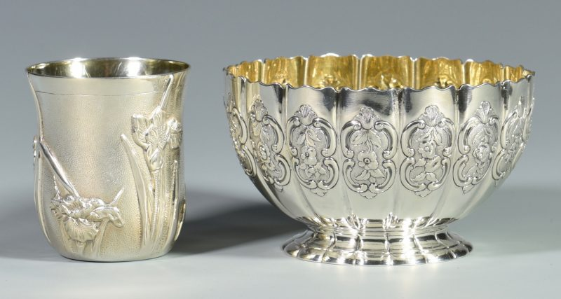 Lot 871: English Sterling Bowl & Galmer Iris Cup