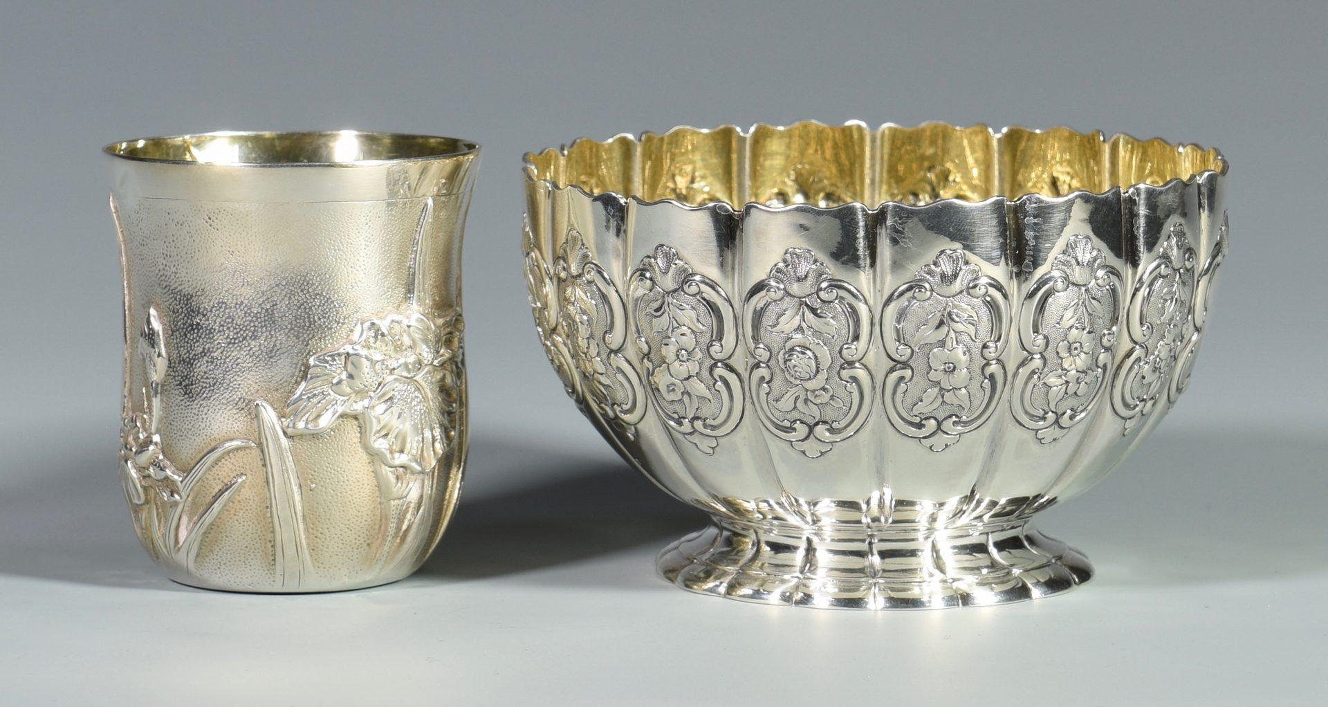 Lot 871: English Sterling Bowl & Galmer Iris Cup