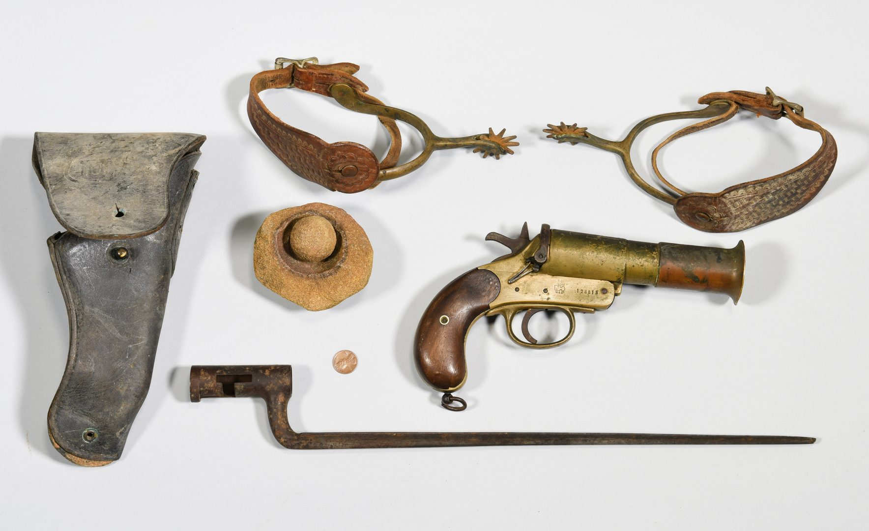 Lot 877: Flare Gun, Bayonet, Spurs and more