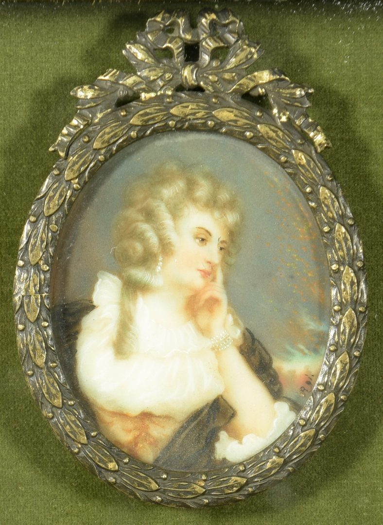 Lot 87: Framed collection of 7 Portrait Miniatures