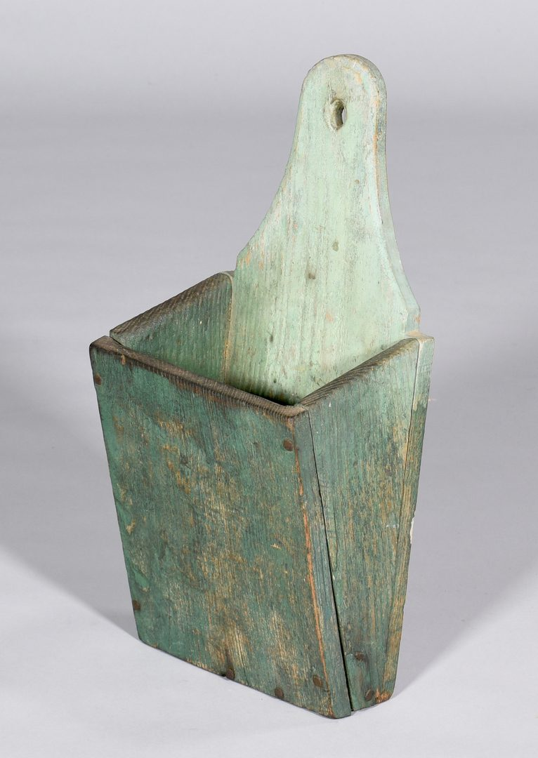 Lot 884: Green Painted Hanging Wall Cabinet & Wall Box