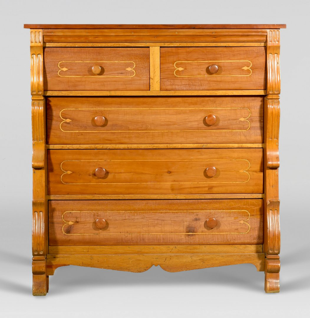Lot 888: Inlaid chest of drawers, attr. Texas