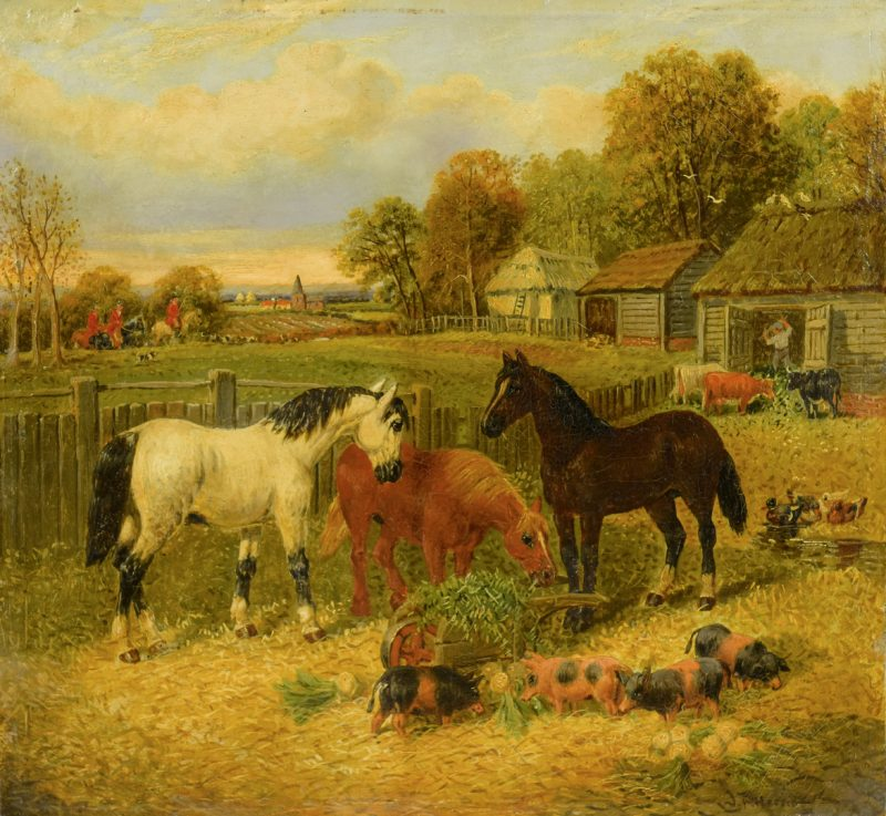 Lot 88: J.F. Herring, Jr. Oil on Board, Farm Yard