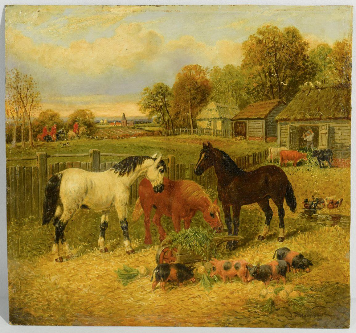 Lot 88: J.F. Herring, Jr. Oil on Board, Farm Yard