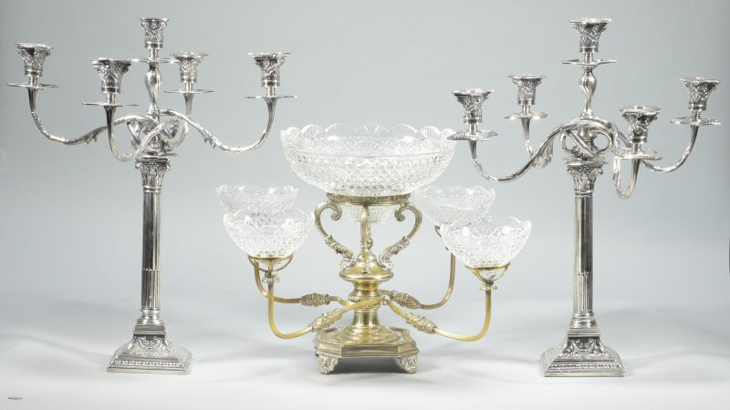 Lot 899: Sheffield Silverplated Candelabra and Epergne with 5 Glass Bowls