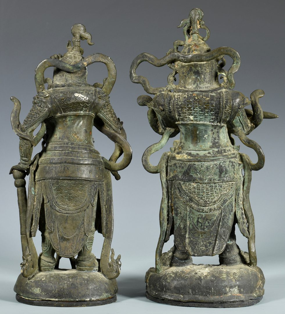 Lot 8: Pair Chinese Bronze Warrior Gods