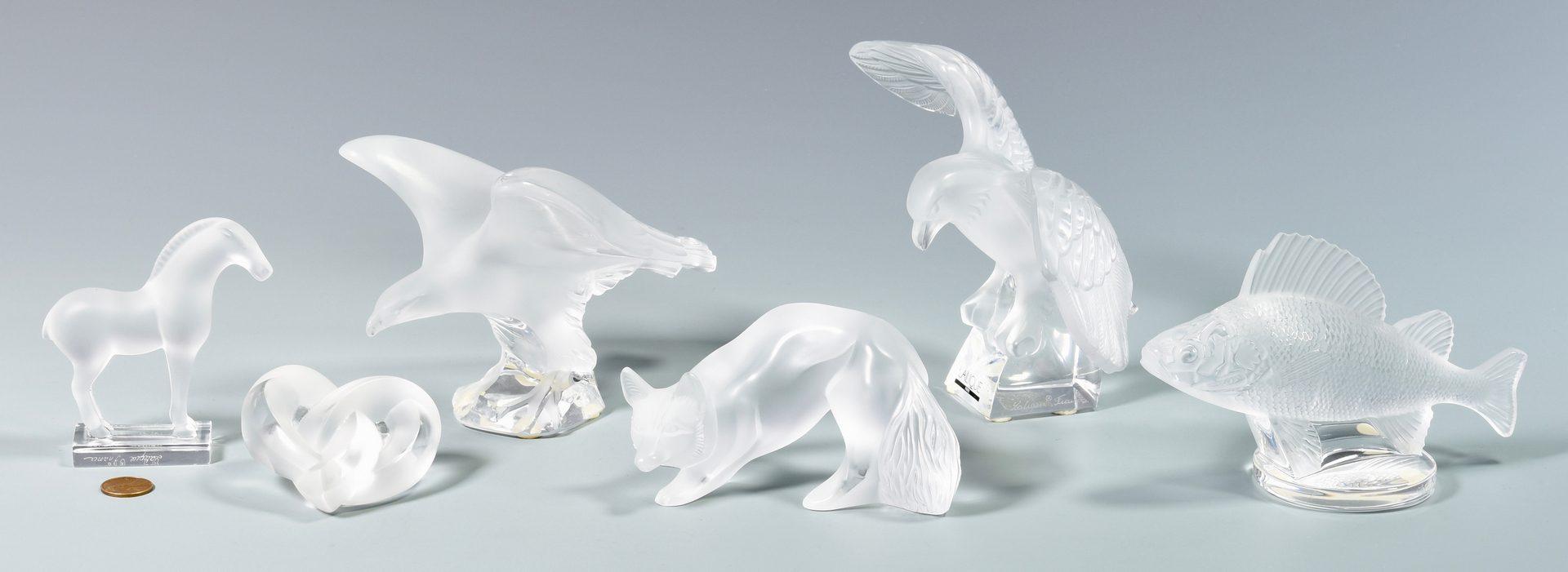 Lot 901: 5 Lalique Glass Animal Figures plus Heart