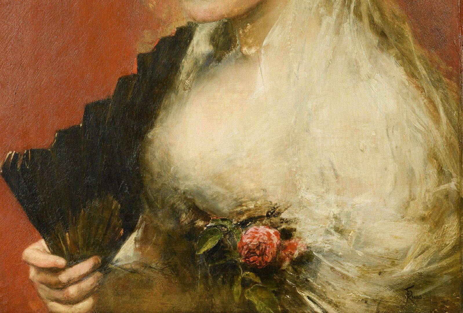Lot 90: Franz Russ I o/b Portrait of Girl with Fan