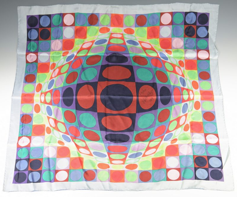 Lot 918: Signed Victor Vasarely Silk Scarf