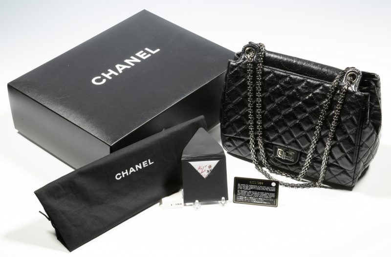 Lot 919: Chanel Classic Bag w/Flap, silver toned