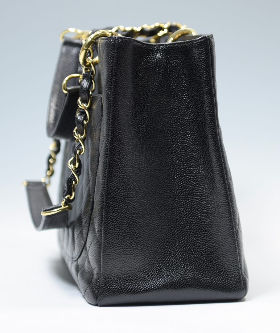 Lot 920: Black Chanel Grand Shopping Tote with Gold