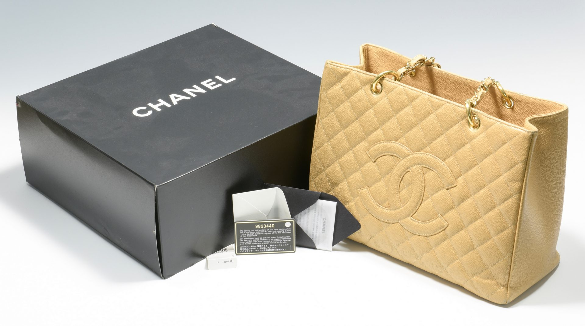 Lot 922: Beige Chanel Grand Shopping Tote