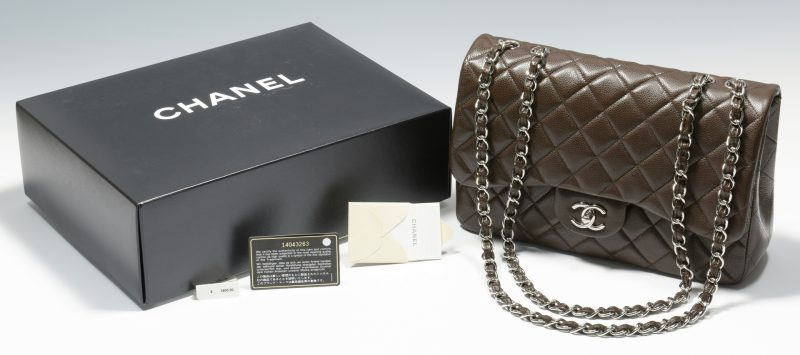 Lot 923: Chanel Jumbo Classic Flap Bag, Dark Brown Leather