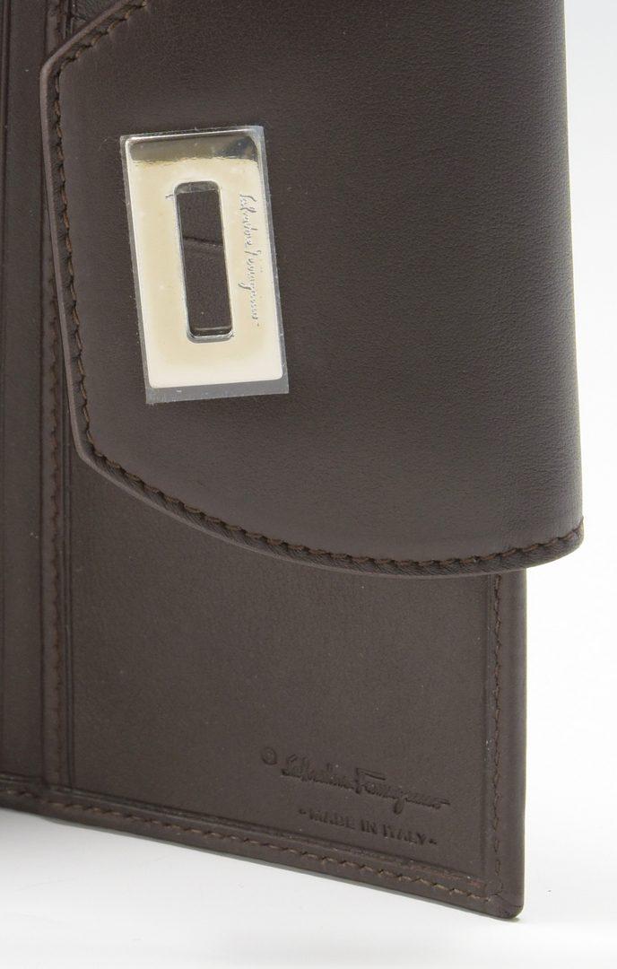 Lot 924: Ferragamo Dark Brown Leather Satchel and Wallet