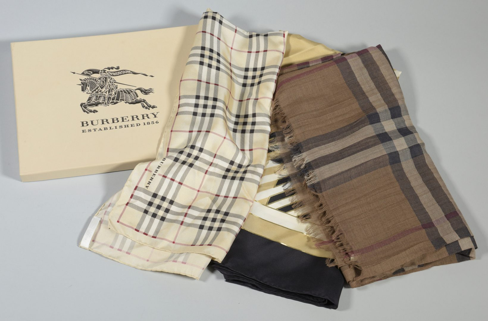 Lot 928: 3 Burberry Scarves, 2 Silk