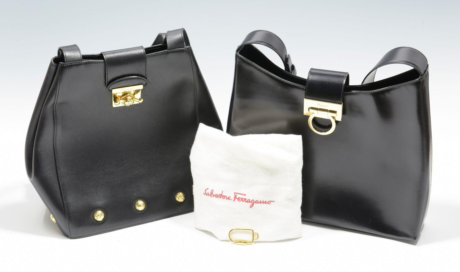 Lot 929: 2 Salvatore Ferragamo Black Handbags