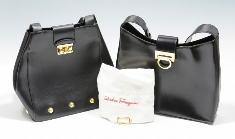 Lot 929: 2 Salvatore Ferragamo Black Handbags