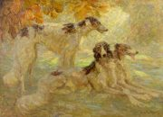 Lot 92: Large C.R. Von Dombrowski O/C, 3 Dogs, sold $11,800