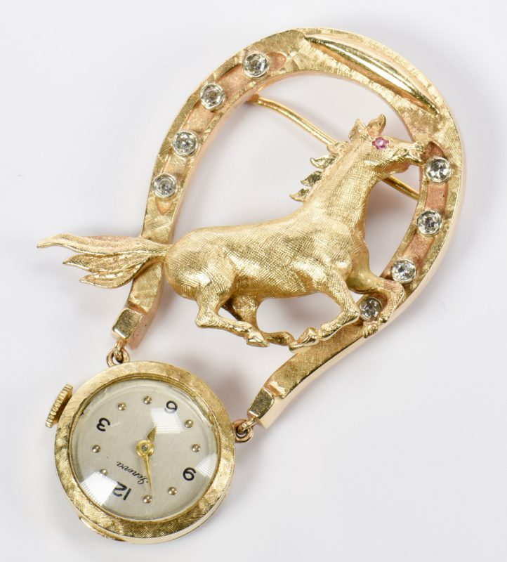 Lot 947: 14K Diamond Horse Lapel Pin Watch