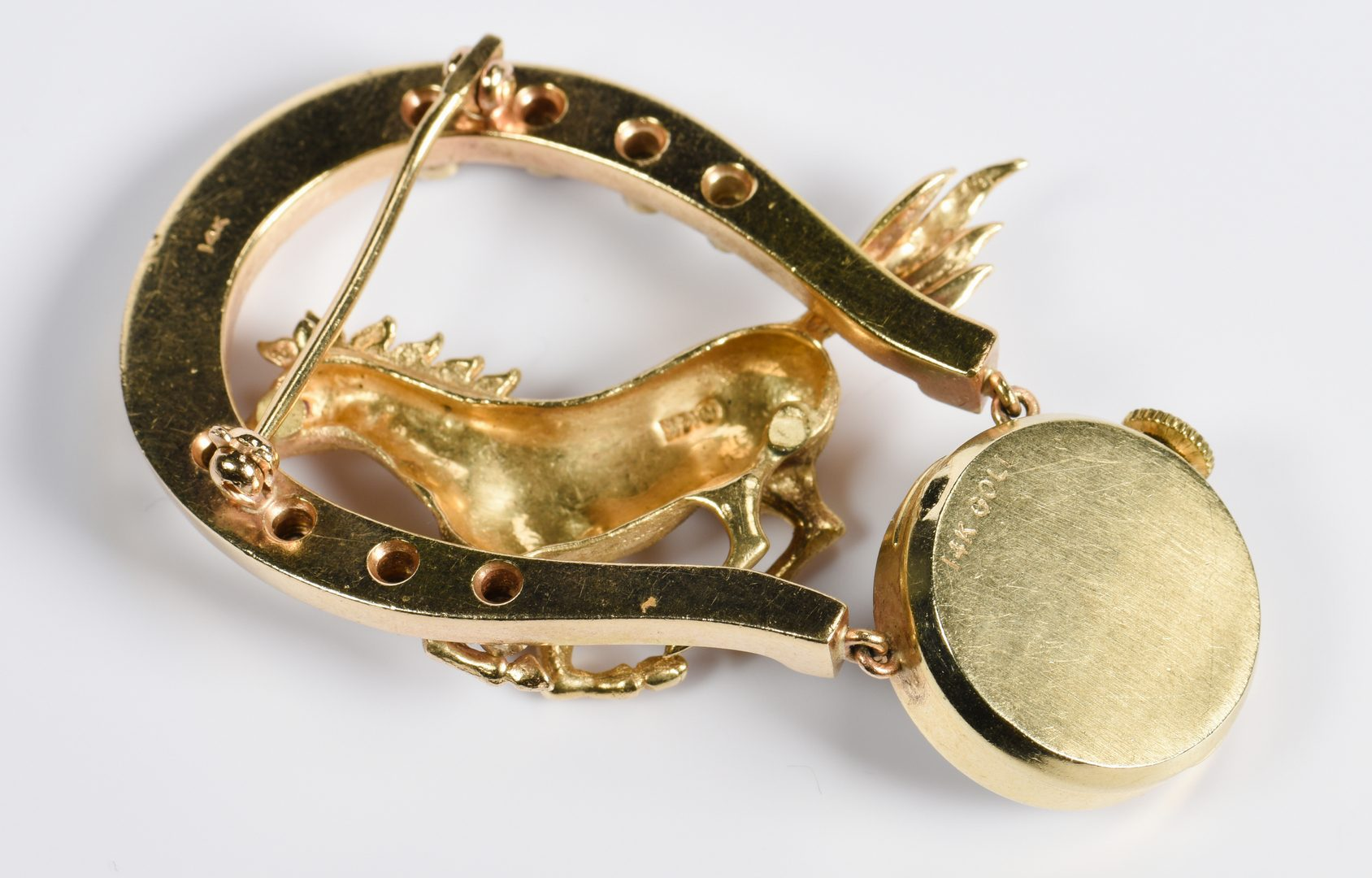 Lot 947: 14K Diamond Horse Lapel Pin Watch