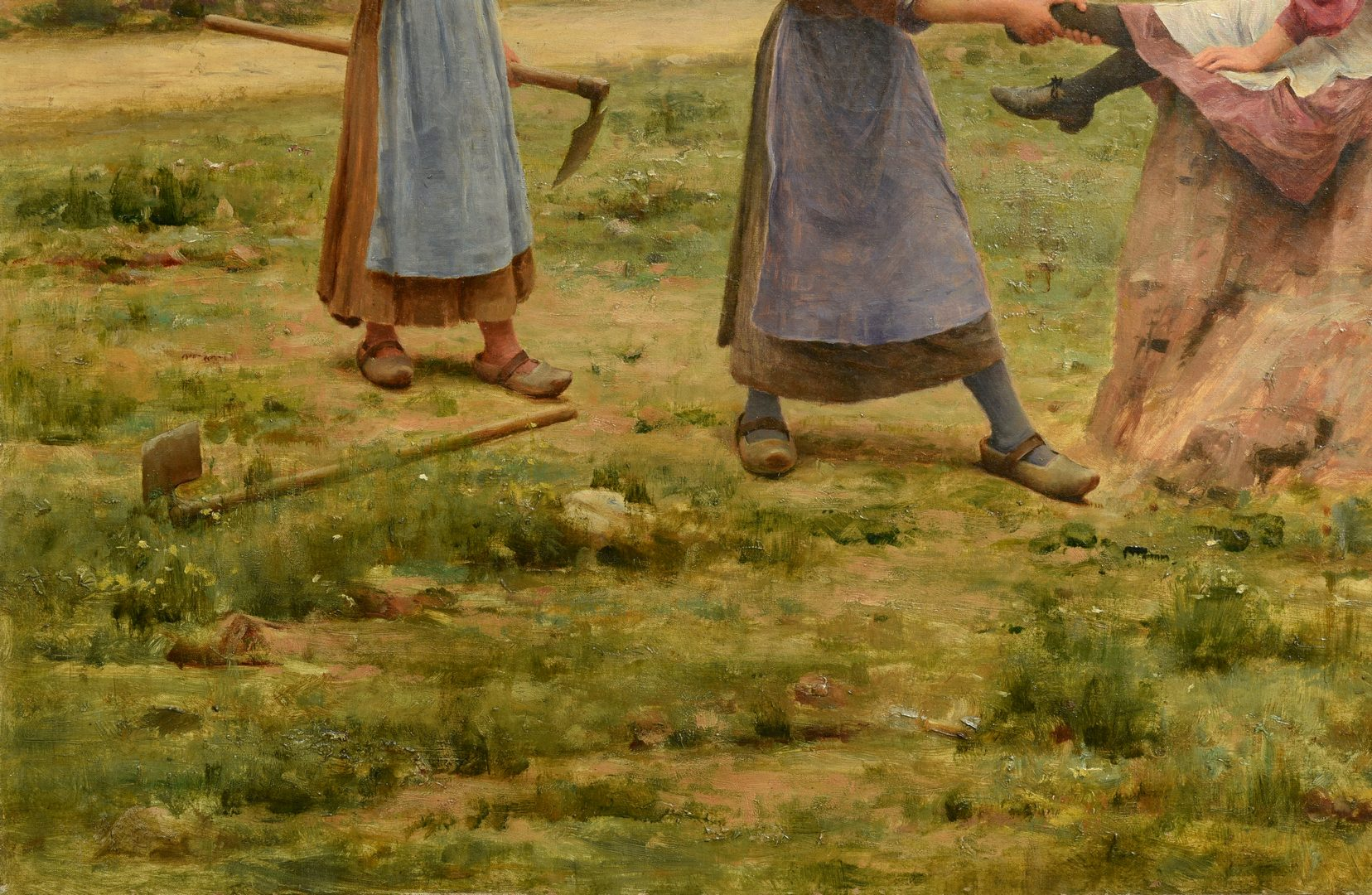 "Lot 94: Cesar Pattein O/C, ""Pastoral Games"""