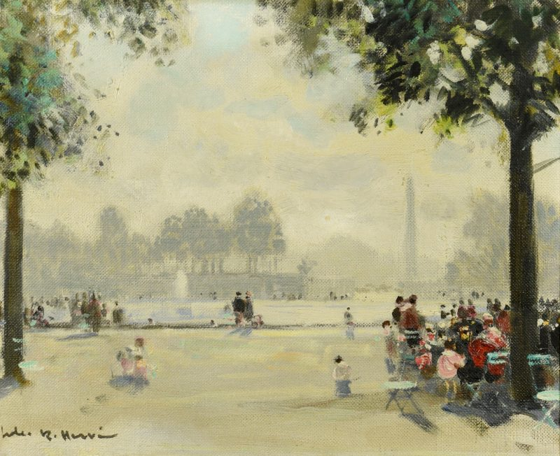 Lot 95: Jules Rene Herve O/C, Tuileries Fountain