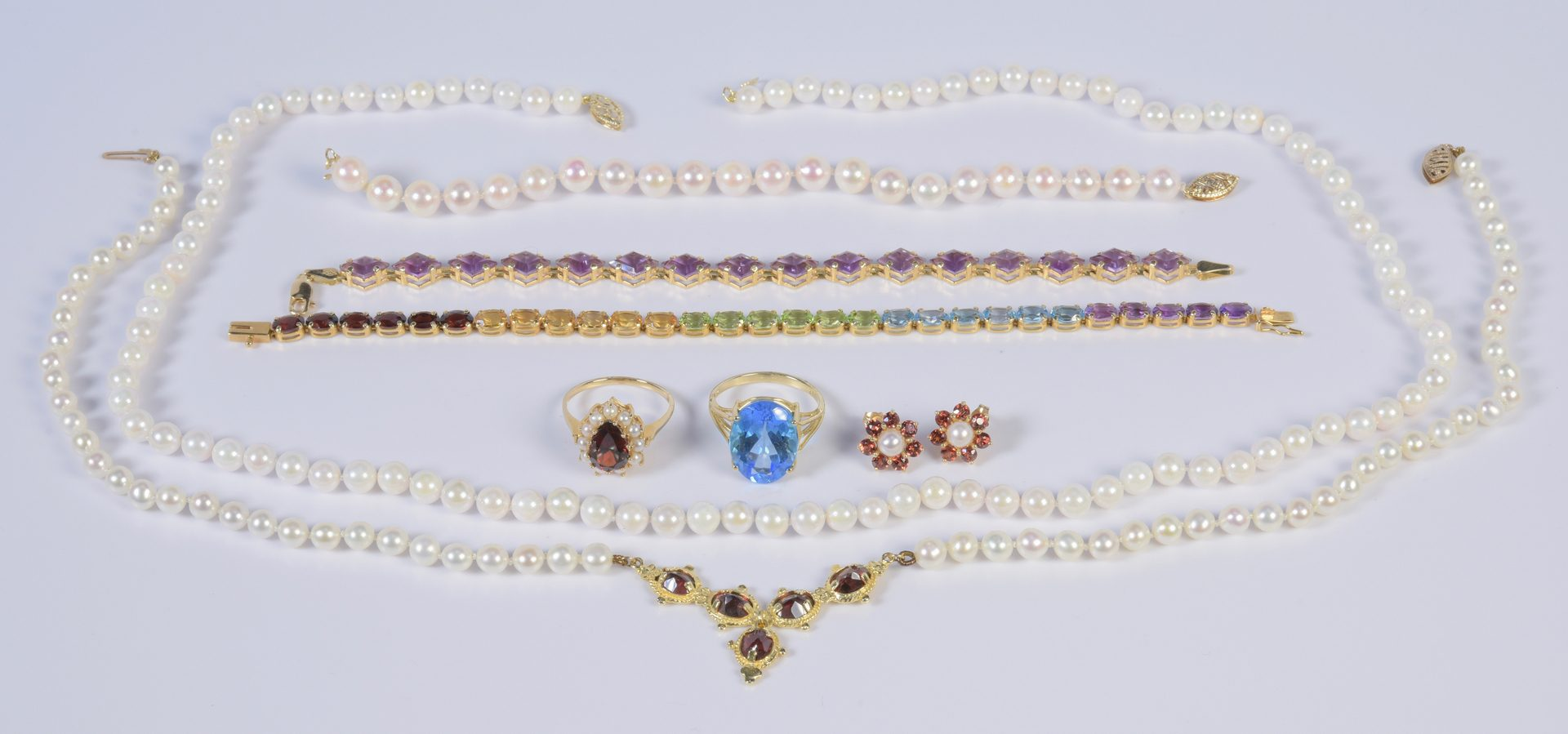Lot 962: 14K Semi-precious plus Pearl Jewelry, 8 items