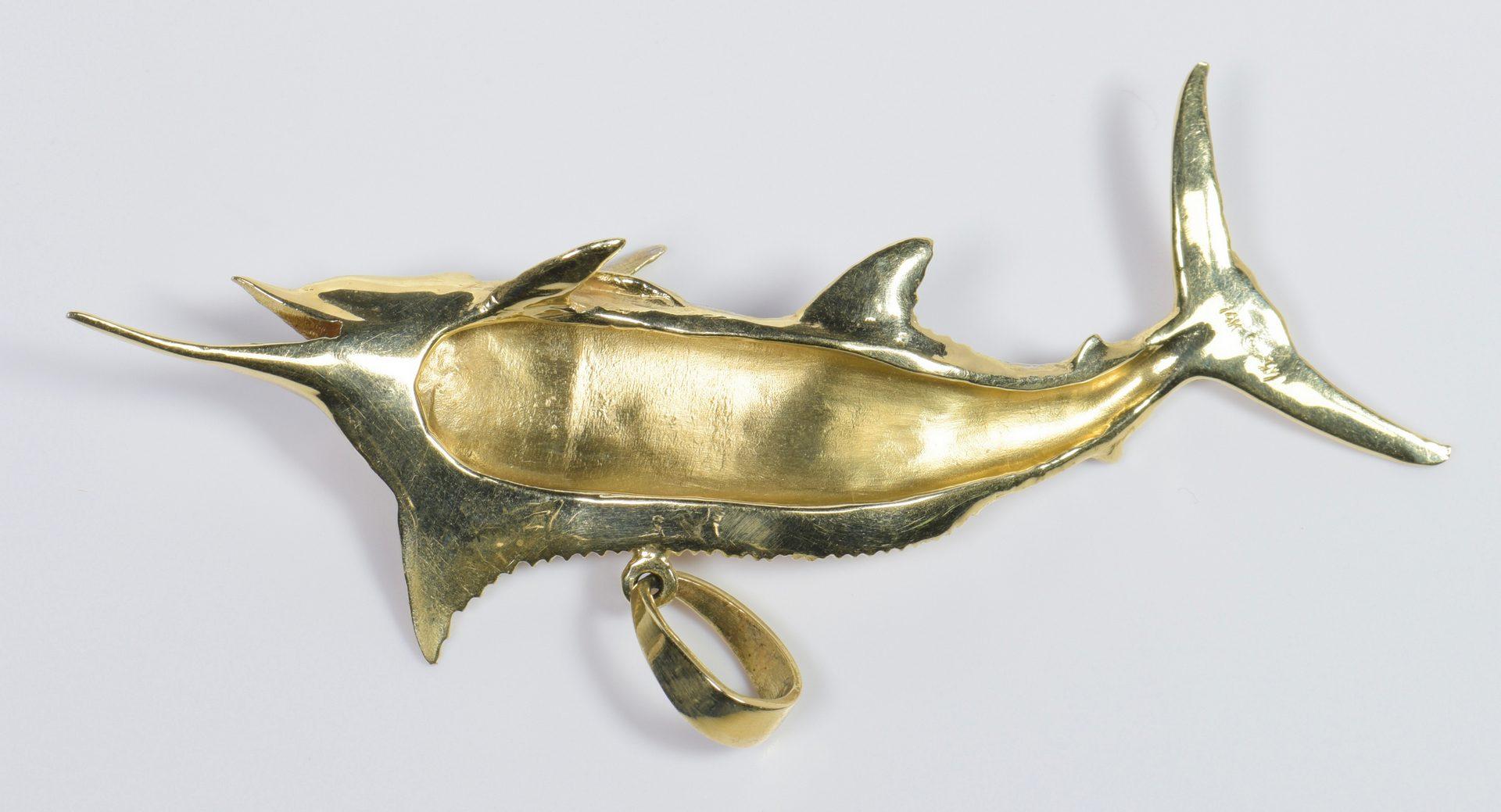 Lot 964: 14K Marlin Fish Pendant