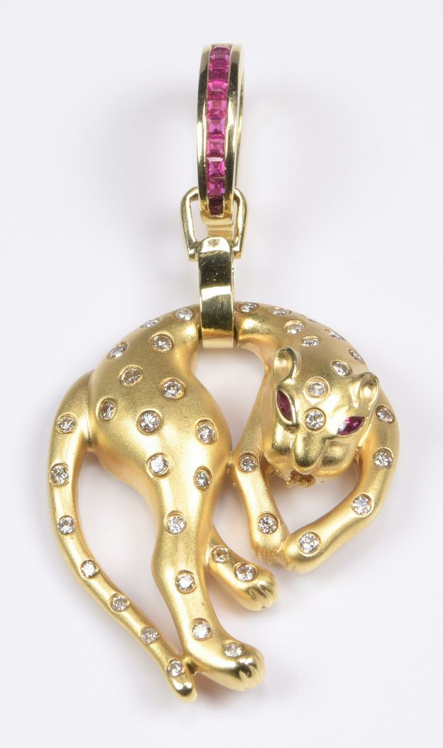 Lot 965: 14K Diamond Draped Panther with Rubies