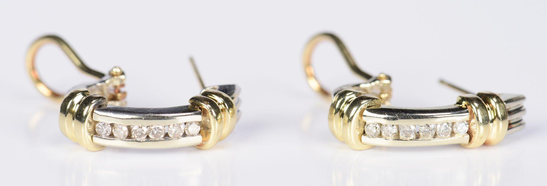 Lot 969: Diamond 14K Two-tone Gold Hoops