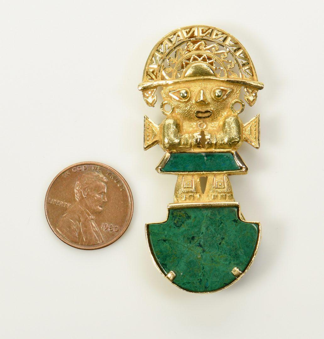 Lot 972: 18K Malachite Inca Deity Pin/Pendant