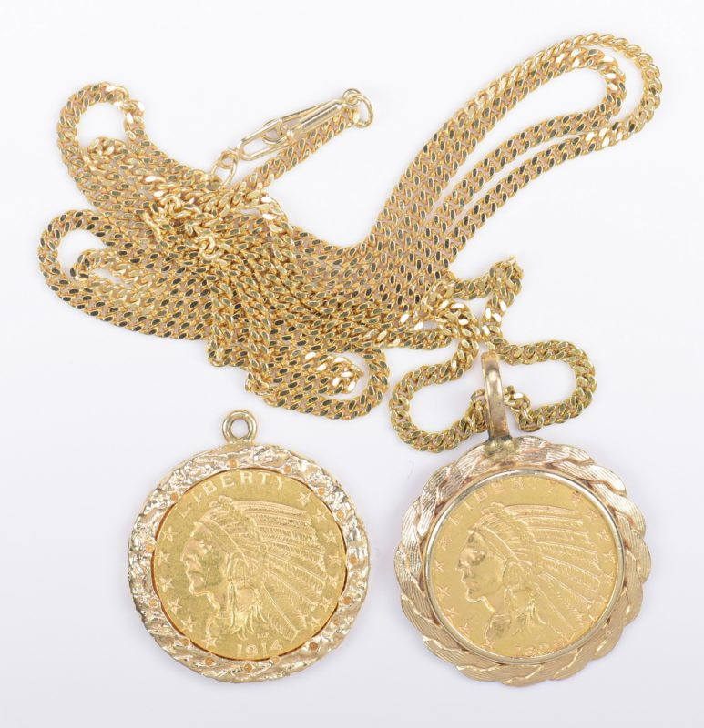 Lot 976: 2 Vintage American Coin Pendants; 18K chain