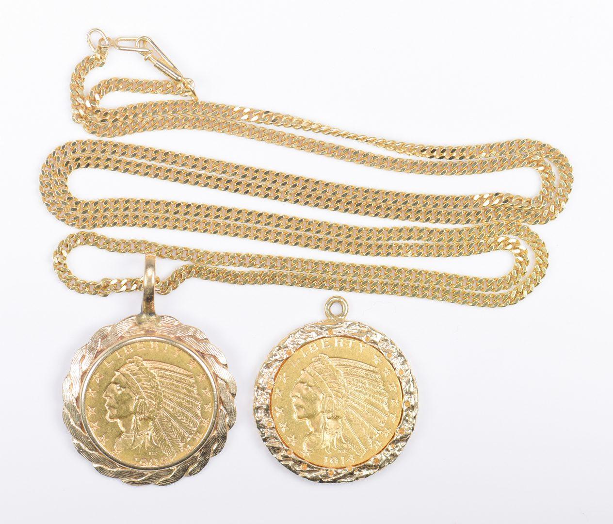 Lot 976: 2 Vintage American Coin Pendants; 18K chain