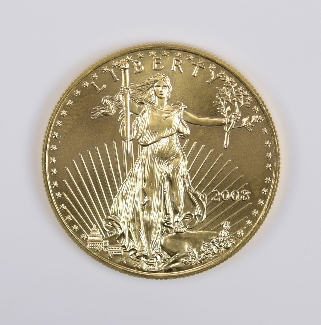 Lot 979: 1 oz 22K American Gold Eagle Coin, 2008